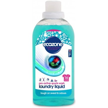 Ecozone Laundry Liquid Sports Wash, 750 ml, Tough on Grass, Sweat and Odours, 16 Washes